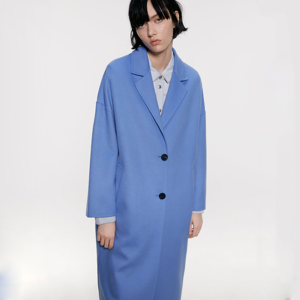 ZA Women's Coat Jacket Bohemian Minimalist Temperament Long-sleeved Lapel Solid Color Single-breasted Hand-stitched Wool Coat