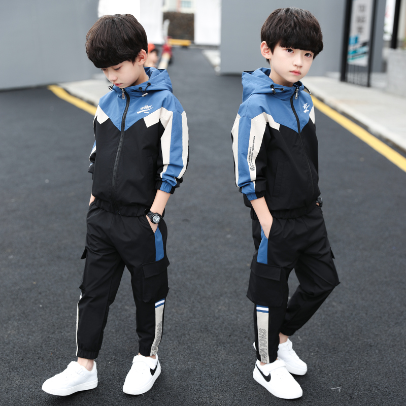 Casual Boys Clothing Set Spring Autumn Kids Clothes Navy Long Sleeve Pullover Solid Sports Suit for Children Boys Tops & Pants spring outfits for kids