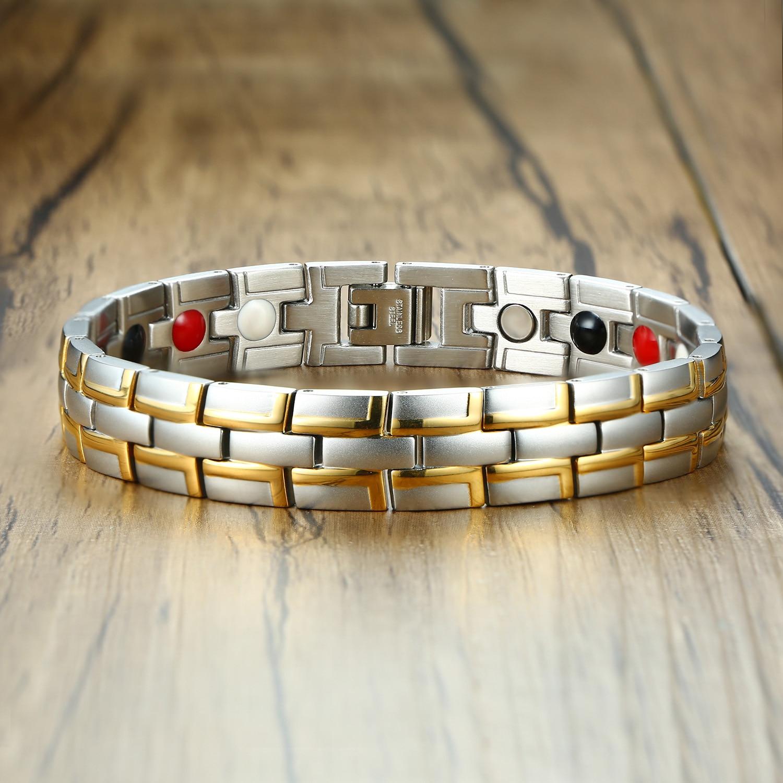 Health Magnetic Bracelet Male Stainless Steel Wrist Band Magnetic Bracelet Men Hand Chain Energy Germanium Bracelets for Men