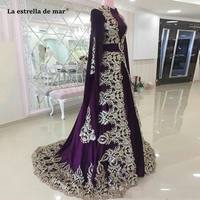 Moroccan Caftan Evening Dresses Purple Elegant Dubai Abaya Arabic Party Dresses Special Occasion Prom Dress With Appliques Lace