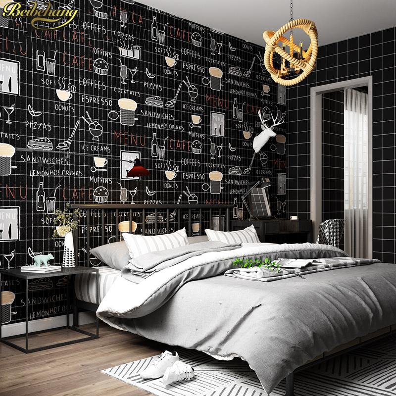 beibehang Simple Nordic black plaid waterproof pvc wallpaper Bedroom living room hotel tea shop background wall paper