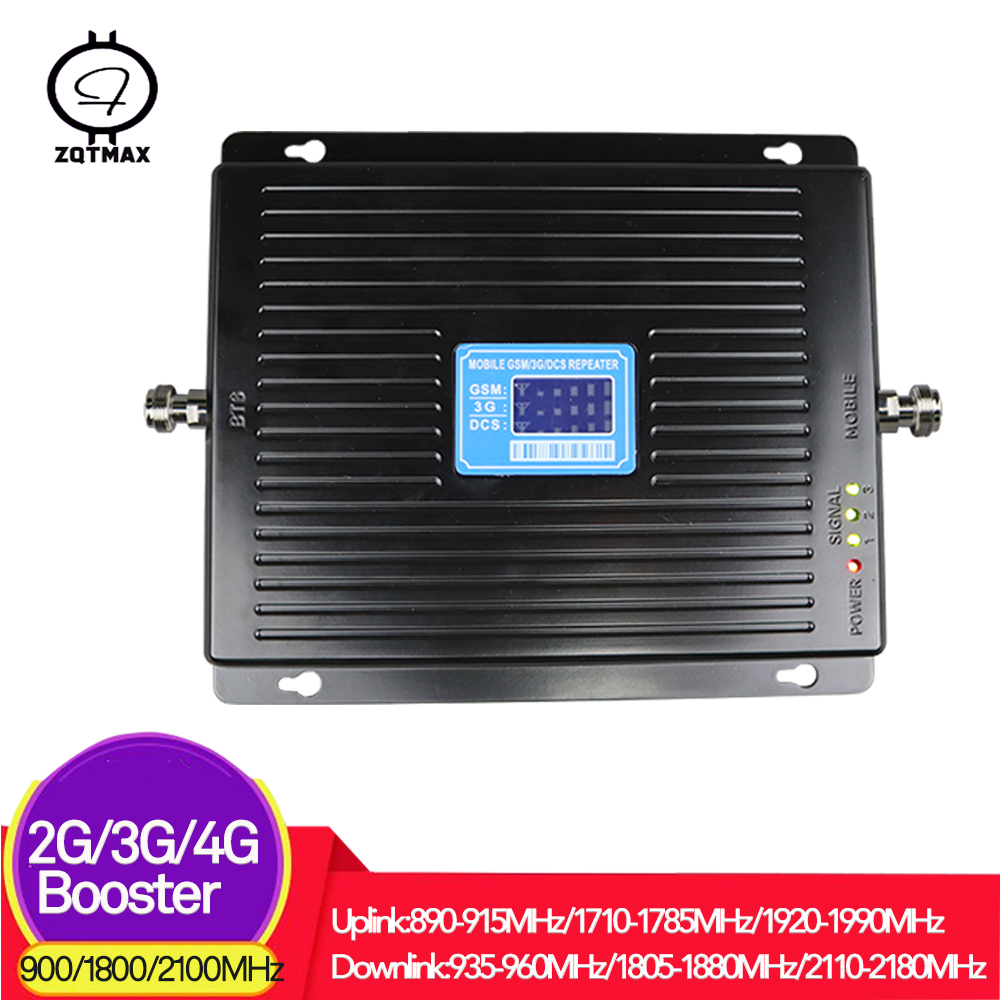 ZQTMAX 75dB 2g 3g 4g Mobile Signal Booster WCDMA DCS GSM Repeater 900 1800 2100 UMTS LTE Cellular Signal Amplifier Internet