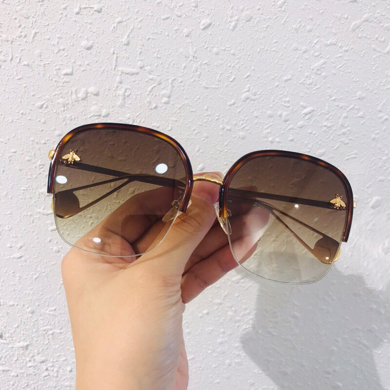 Retro Square Bee Sunglasses Women Brand Designer Vintage Oversize Gradient Sun Glasses Fashion Men Oculos UV400