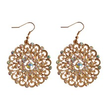 HIYONG Popular Senior Colored Gems Noble Jewelry Wholesale Girls Birthday Party Circle Earrings Christmas Gift