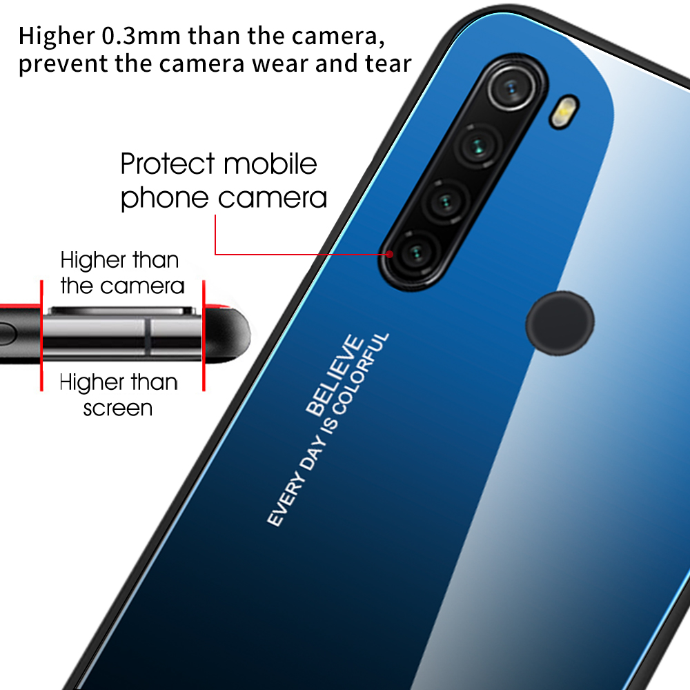 Shockproof Tempered Glass Cover For Xiaomi Redmi Note 8 T Gradient Bumper Shell For Redmi Note 8 Pro 8 8T 3