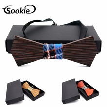 цена на New Style Wood MEN'S Bow Tie Natural Pure Solid Wood Top Grade Bow Wholesale Currently Available Wedding Wooden Bow Tie
