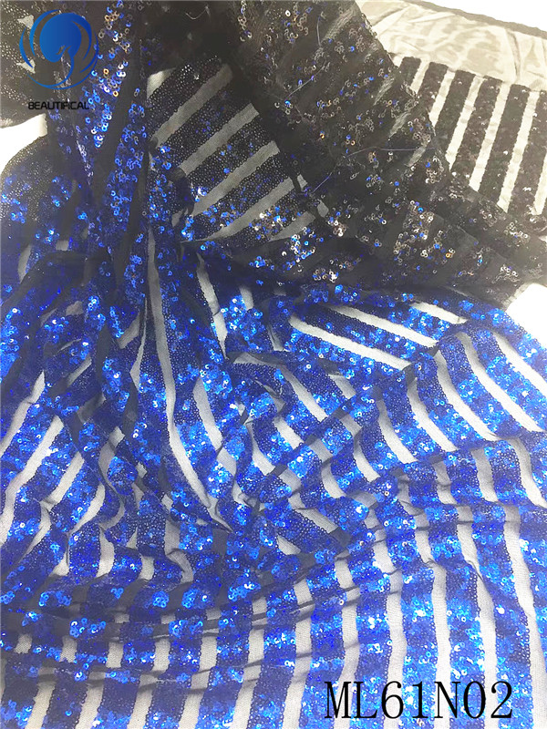 BEAUTIFICAL african french fabric lace net tulle with sequins lace nigerian mesh tulle tissu for dress african laces ML61N02