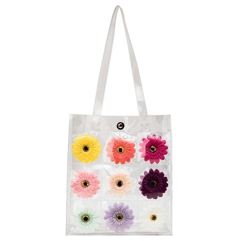 Hologram Transparent Plastic Handbags Beach Shoulder Bag Women Trend Tote Jelly Fashion Pvc Clear Bag