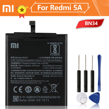 Xiao Mi Xiaomi BN34 Phone Battery For Xiao mi Redmi 5A Redrice 5A 3000mAh BN34 Original Replacement Battery + Tool replacement 35mm hs366 6v4 5a ophthalmic lamp 6v27w op2366 p44s for haag straight hs900 930 neitz shin nippon