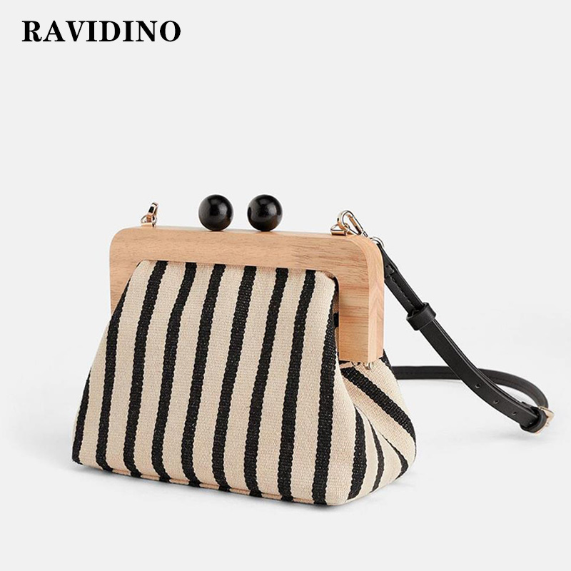 Vintage Striped Wooden Clip Bags Shell Bag Luxury Brand Shoulder Bags Women Messenger Crossbody Bag Women Canvas Handbags