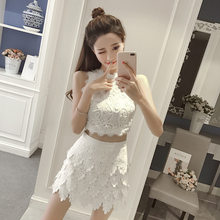 2020 Summer New Women White Cropped Top High Waist Shorts Skirt Two Piece Set Lace Patchwork Sleeveless Vest Party Outfits Sets(China)