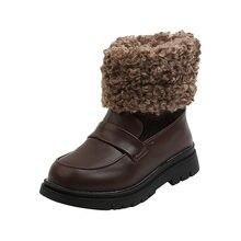 Детские кожаные зимние ботинки ulknn модная обувь с хлопковой