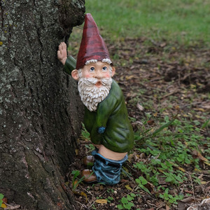 Resin Naughty Garden Gnome Garden Statue Christmas Dress Up Garden Decoration Resin Gnome Christmas Resin Gnome New Hogard