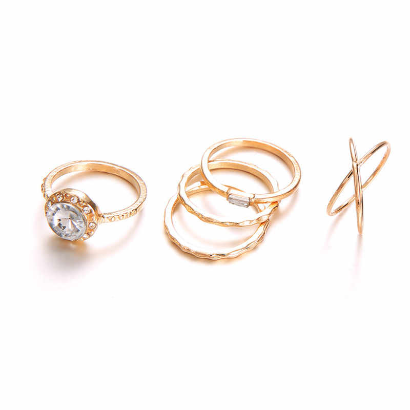 LETAPI 5 ชิ้น/เซ็ต Gold สี Vintage Punk แหวนชุดบิ๊กรอบ Cz Cross Wedding แหวนผู้หญิง