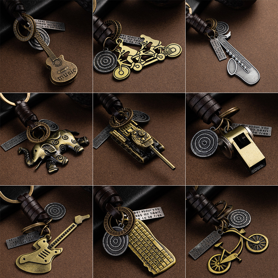 Fashion Car Key Chain Ring Lovers Couple Keychain Bags Music Guitar Elephant Skateboard Hat Bicycle for Key Ring Tags Gifts image