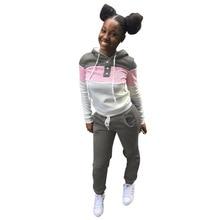 2021 Spring Women Two Piece Set Color Patchwork Sweater  + Pencil Pants Drawstring Tracksuit Women Sportwear Outfit