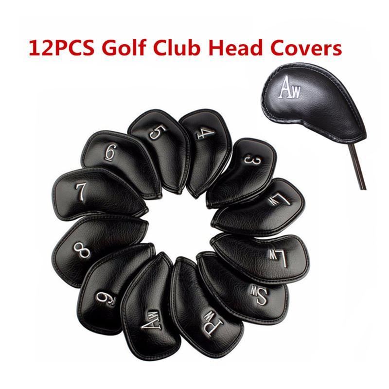 12pcs / Set Exquisite PU Golf Club Iron Head Covers Golf Head Protector Games Iron Club Head Cover Sets Cover Accessories