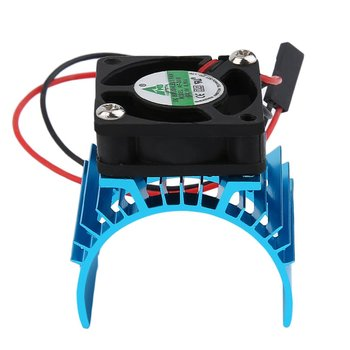 Blue RC Parts Electric Car brushless Motor Heatsink Cover + Cooling Fan for 1:10 HSP RC Car 540 550 3650 Size Motor Heat Sink motor cooling heat sink heatsink top vented 540 545 550 size for 1 10 rc car buggy crawler rc boat hsp hpi wltoys himoto redcat
