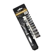 """Conjunto de chaves de soquete multifuncionais, kit com 12 peças de combinação de aço cromado e vanádio, chave de soquete de 1/4"""""""