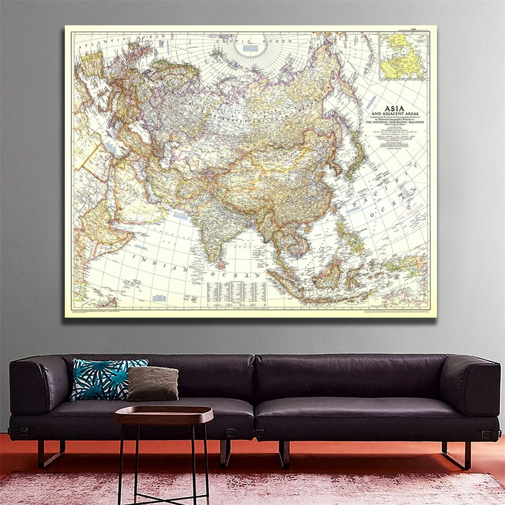 60x90cm 1951 Edition  Vinyl Spray Painting Map Of Asia And Adjacent Areas Fine Canvas Wall Map For Lounge Wall Decor