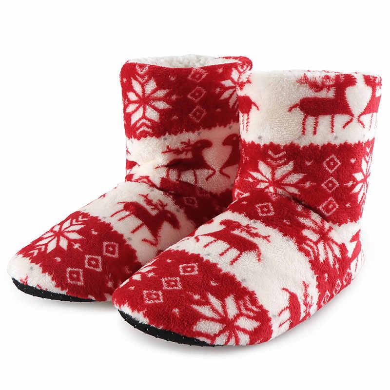 Winter Huis Laarzen Dames Schoenen Vrouw Kerst Elanden Indoor Sokken Schoenen Warm Katoen Bootie Pluche Zachte Botas Mujer Invierno 2019