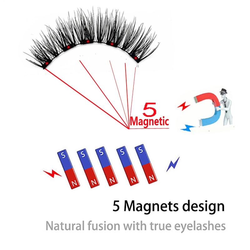 LEKOFO 4 Pairs 5 Magnet Magnetic False Eyelashes Handmade Mink Eye Lashes faux cils magnetique 3D Natural magnetic Lashes WSP 5
