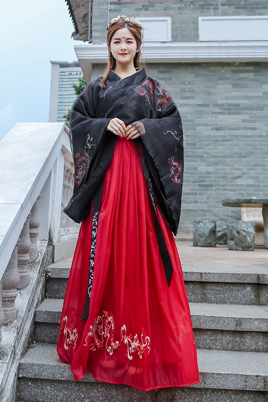 2020 lady casual hanfu traditional chinese costumes ancient retro dance dress woman embroidery clothing set