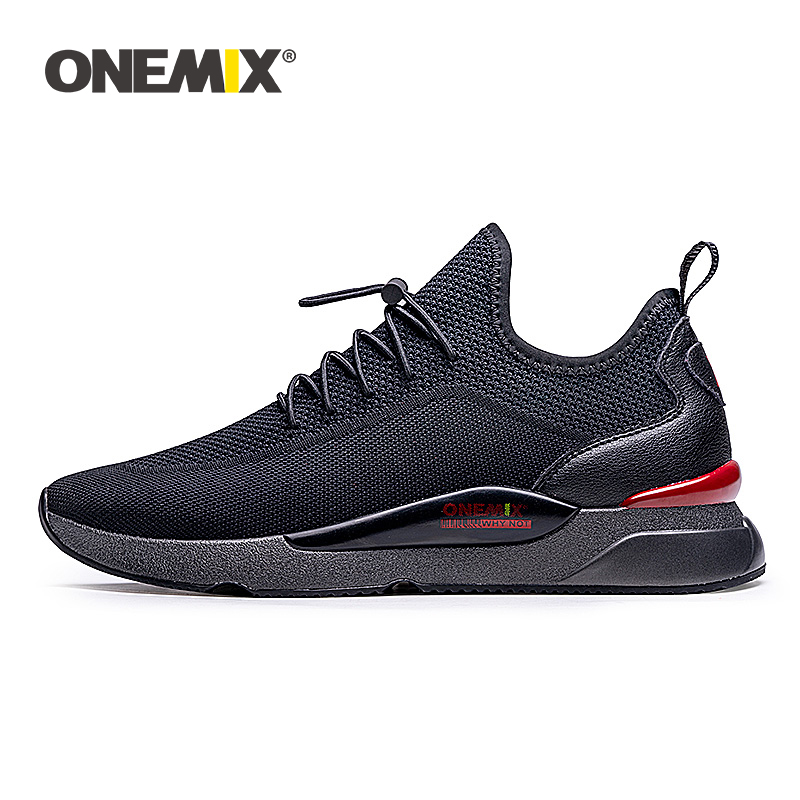 ONEMIX Men Sneakers Breathable Mesh Outdoor Sport Shoes Air Cushion Flats Training Athletic Male Slip On Jogging Running Shoes
