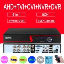 Detecção de rosto de áudio do painel vermelho hi3521d xmeye 5mp 8ch 8 canais h.265 + 6 em 1 wifi coaxial híbrido nvr tvi cvi ahd dvr