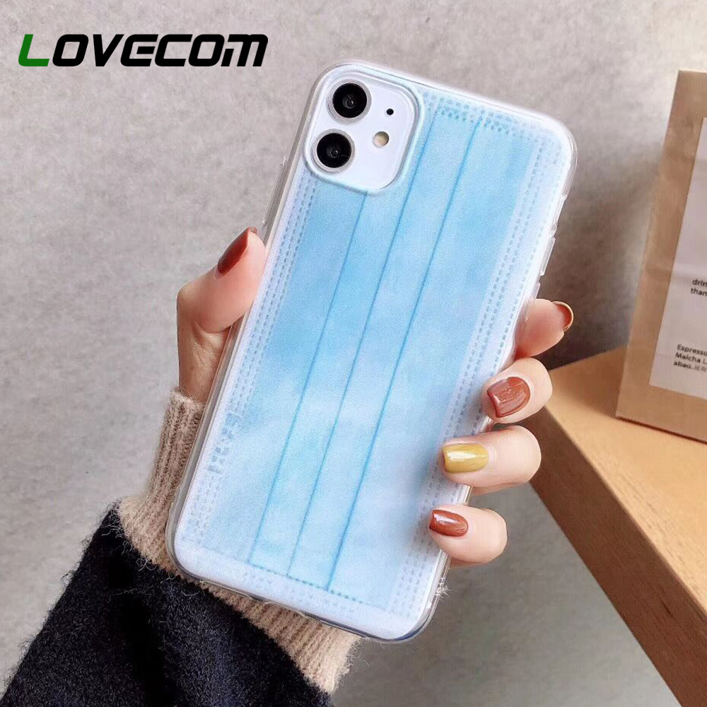 LOVECOM Medical Mask Phone Case For IPhone 11 Pro Max XR XS Max 7 8 Plus X Soft TPU Care About Health Phone Back Cover Coque