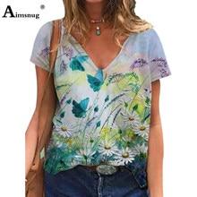 Plus Size 3xl Vrouwen Elegante Leisure Casual T-shirt Bohemian Bloemenprint V-hals Losse Vrouwen Top 2021 Zomer Tees Shirt femme