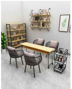 Marble single double European nail table nail manicure Taipei European style nail table and chair set gold wrought iron