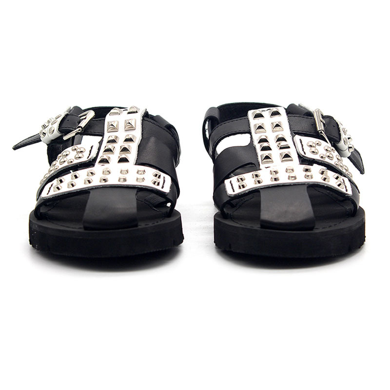 2020 NEW Punk Style Rivet Hollow Out Bandage Gladiator Sandals Men Personality Genuine Leather Outdoor Walking Sandals Casual