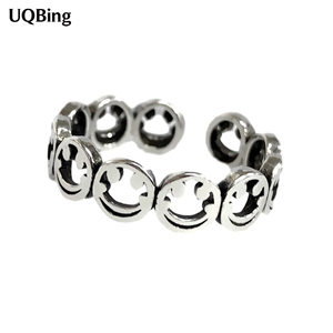 925 Sterling Silver Hollow Smiley Vintage Finger Rings For Women Jewelry 2020 Free Shipping