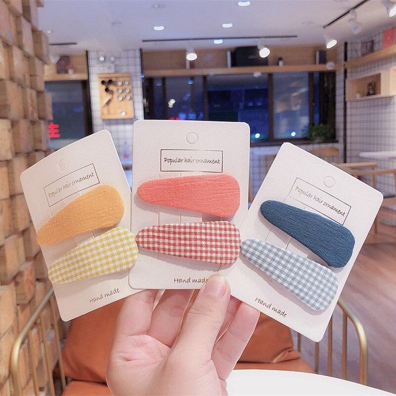 1 Pair Korean New Autumn and Winter Simple Plaid Fabric Children's BB Clip Girl Princess Fashion Colorful Hairpins   Headwear