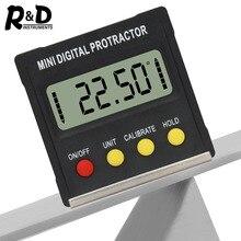 R & D 360 derece Mini dijital İletki İnklinometre elektronik seviye kutusu manyetik taban ölçme araçları