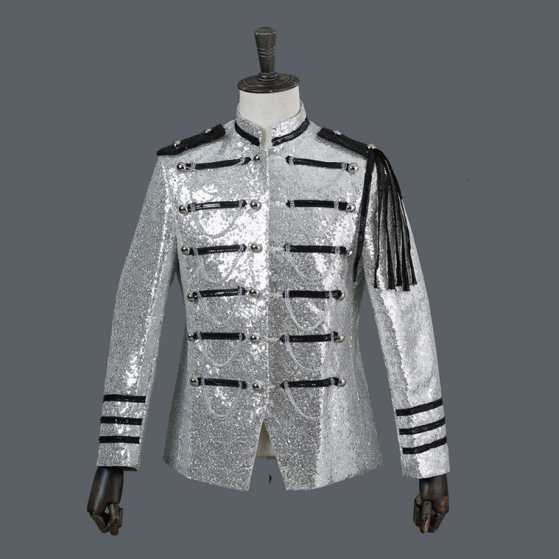 Mens Military Stage Performance Sequins Blazer Jacket Stand Collar Chains Court Tassels Blazer Suit Single Breasted Shiny Coat