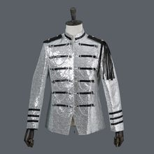 Hommes militaire scène Performance paillettes Blazer veste col montant chaînes Court glands Blazer costume simple boutonnage brillant manteau(China)