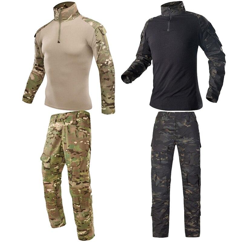 Homens ao ar livre airsoft uniforme multicam militar camisa camuflagem ternos de caça tático do exército camisas uniformes combate ghillie terno