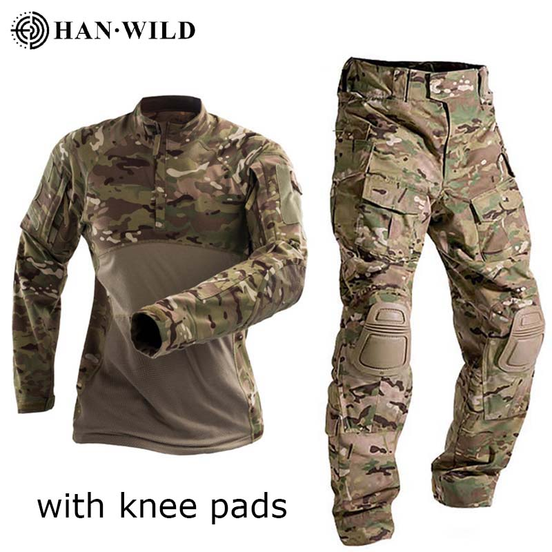 Outdoor Military Uniform Tactical Combat Shirt US Army Clothing Tatico Tops Airsoft Multicam Camouflage Hunting Pants Knee Pads
