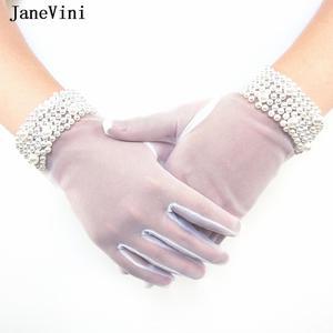 Image 1 - JaneVini High Quality Bridal Gloves Women Elegant Pearls Short Tulle Gloves Full Finger White Wedding Gloves Gant Blanc Adulte