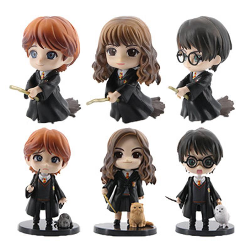6pcs/set 8 10cm  Movie Harri Ron Hemione Action Figures Doll Magician Potters Cake Decoration ToyAction & Toy Figures   -