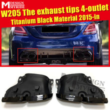 Exhaust Tips 4-hole Fits For MercedesMB W205 Sports C-Class C180 200 300 400 C63 Look Titanium Black 4-outlet exhaust tips 15-in