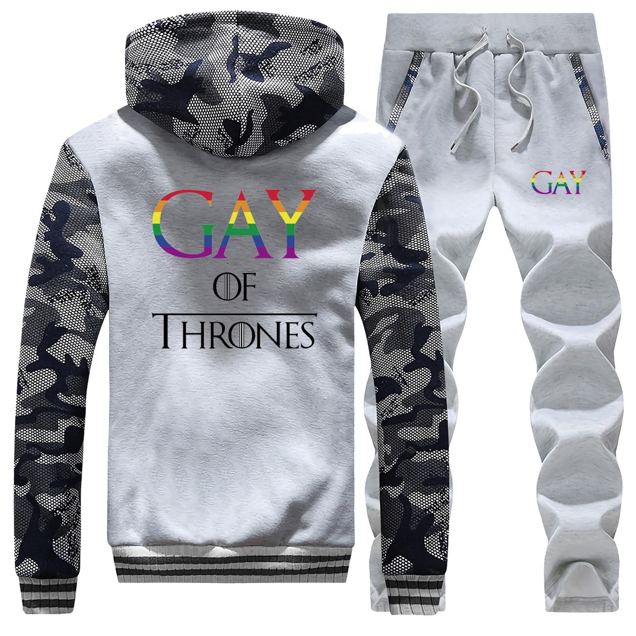 2019 Winter Men Hoodies Gay Of Thrones Gay Pride Vintage Mens Camouflage Fleece Warm Jacket Suit Coat Thick+Pants 2 Piece Set