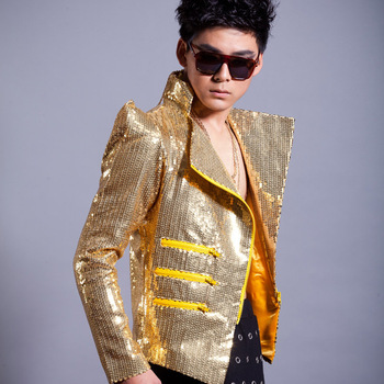 Male Performance Outerwear Male Paillette Outerwear Male Dj Slim Gold Paillette Outerwear Paillette Hip Hop Reflective Jacket фото