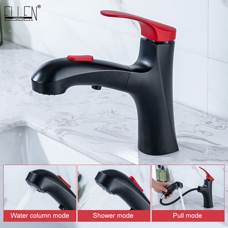Pull Out Bathroom Sink Faucet Black Hot Cold Water Mixer Bath Faucets Deck Mounted 2 Type Water Spray ELM821