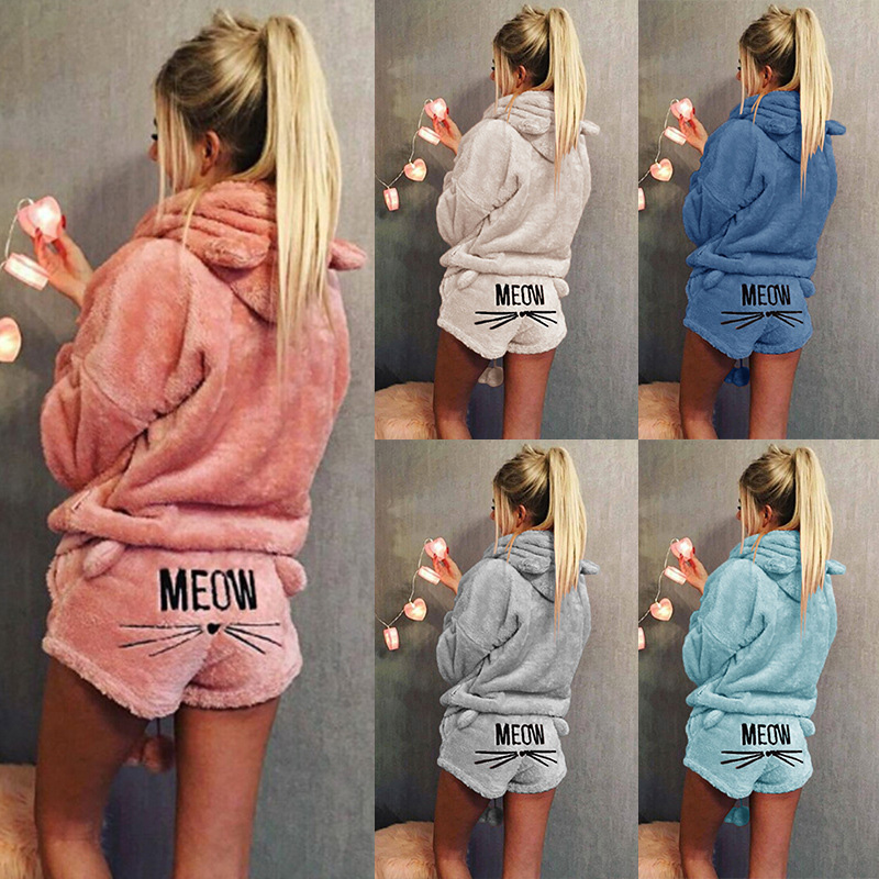 Women Coral Velvet Suit Two Piece Set Autumn Winter Pajamas Warm Sleepwear Cute Cat Meow Pattern Hoodies Shorts Set 2019 New