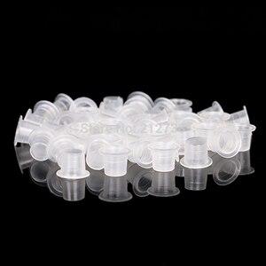 Image 5 - 100 قطعة البلاستيك Microblading الوشم الحبر كأس غطاء الصباغ حامل واضح الحاويات S/M/L حجم ل إبرة تلميح قبضة Supply B5 الطاقة