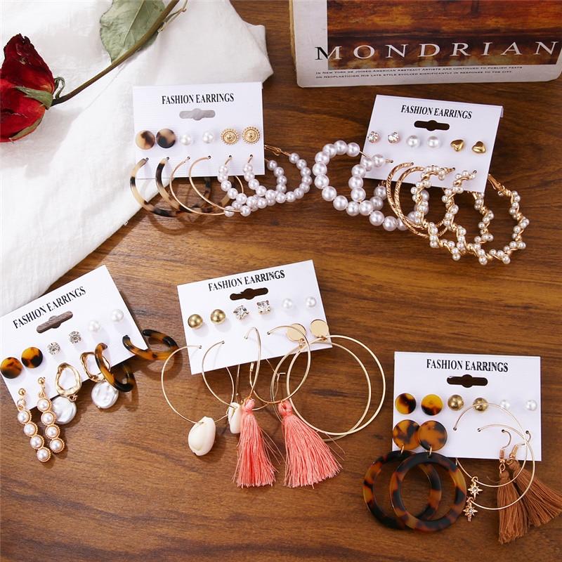 Fashion Shell Tassel Earrings For Women Bohemia Leopard Acrylic Earrings Big Geometric Star Heart Pearl Earrings Set DIY Jewelry