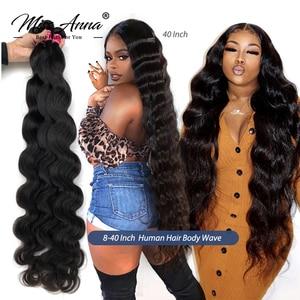 MissAnna Brazilian Human Hair Weave Bundles Body Wave 8- 32 36 40 Inch Natural Color 1/3/4PCS 100% Remy Human Hair Weave Bundles(China)